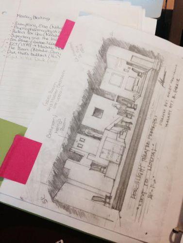Notes, Set design sketch, Director's Binder